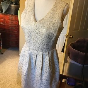 Cynthia Rowley white & silver brocade dress